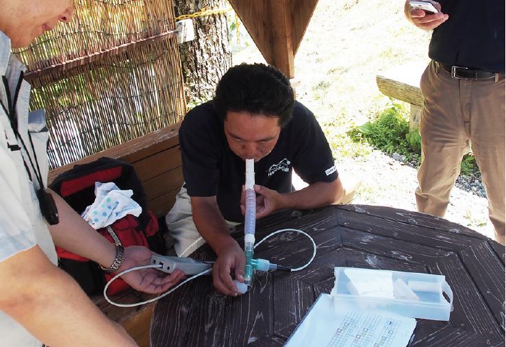 飲泉による呼気の水素濃度測定実験